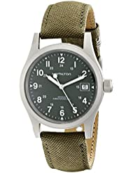 Hamilton Mens HML-H69419363 Khaki Field Green Strap Analog Hand wind Stainless Steel Watch