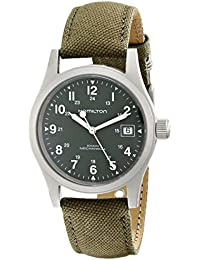 Men's HML-H69419363 Khaki Field Green Strap Analog Hand wind Stainless Steel Watch