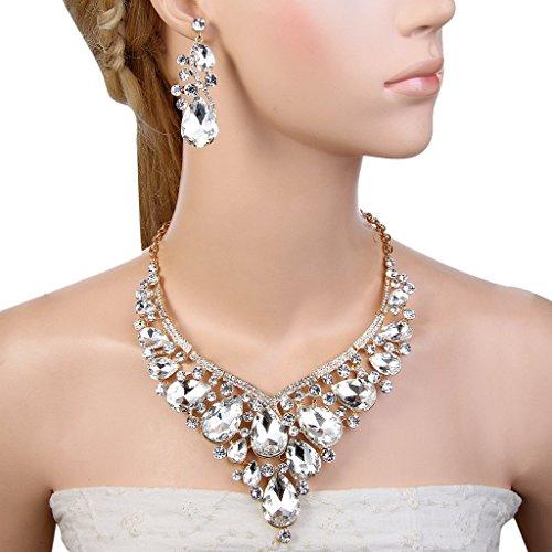 EVER FAITH® Femme Strass Cristal Superbe Collier Plastron Boucle d'Oreilles Parures Clair Plaqué Or