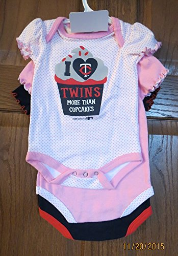 Mn Cup - MN Twins Baseball MLB I LOVE more than Cupcakes 3 pc creeper set baby infant 0-3 months