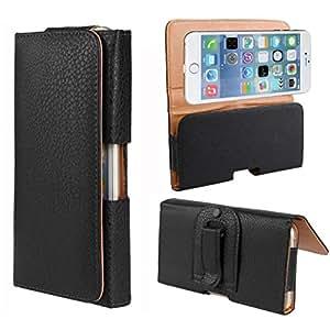 CHSH Monedero Funda de Litchi Lychee Cuero cáscara para Apple iPhone 6 4.7 inch Cintura colgar Belt clip Cover Negro