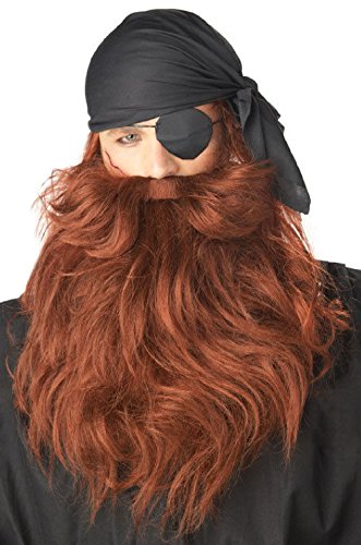 Pirate Black Beard and Moustache Adult Costume Facial Wig - (Red Pirate Beard And Moustache)