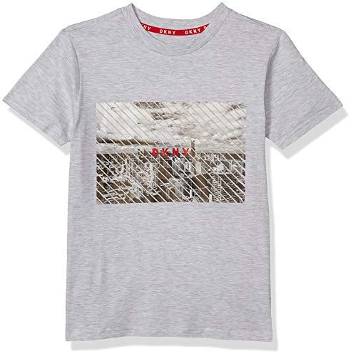 DKNY Boys' T-Shirt, City Light Heather, 8