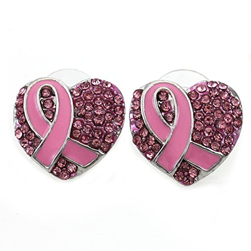 Breast Cancer Awareness Month Pink Ribbon Heart Earrings Stud Post Fashion Jewelry