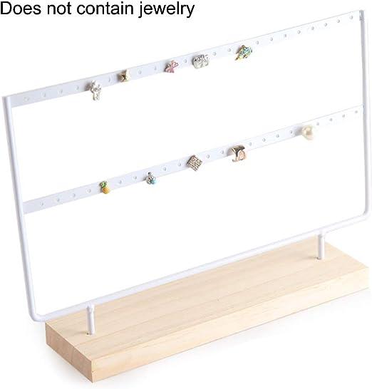 Amazon Com Okngr Earring Holder Organizer 46 Holes Wood Base Earring Display Jewelry Organizer Stand Display Rack For Women Girls Gift Earring Holders White Home Kitchen