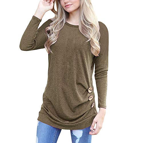 Seaintheson Women Solid Tee Shirts Clearance, Casual Plus Size Round Neck Loose Long Sleeve Botton Side Tunic Top Blouse