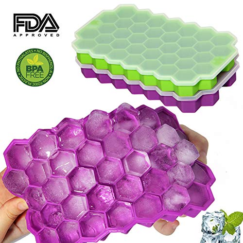 Silicone Ice Cube Trays with Lids BPA Free Easy Release 74 Cubes Ice Trays Set of 2 Stackable Flexible Ice Cube Mold Green/Purple