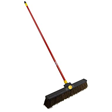 Quickie Bulldozer 24-Inch Rough Surface Palmyra Push Broom (00636), 1-Pack, Red