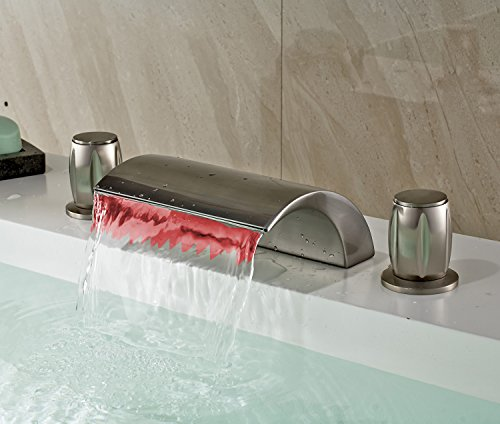 Rozin LED Color Changing Waterfall 3 Holes Bathtub Faucet Brushed Nickel Finish