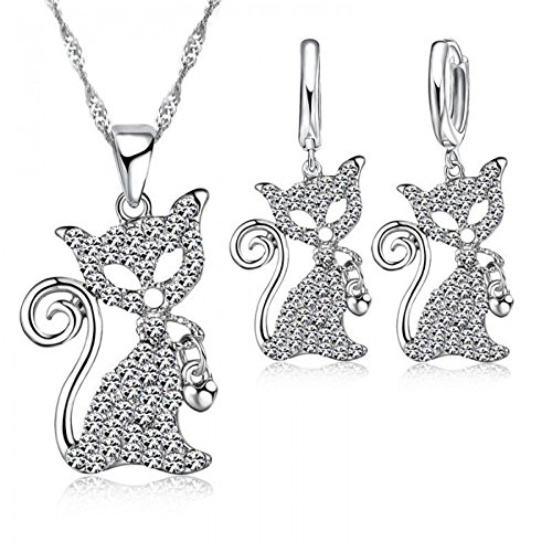 Parure chat avec son collier coeur cristaux swarovski elements argent 925