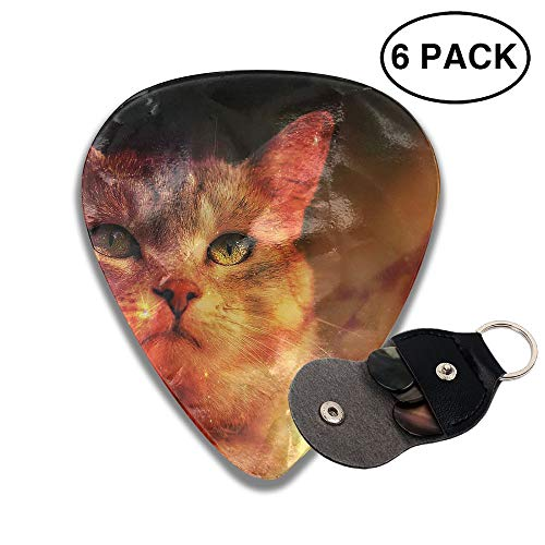 Colby Keats Guitar Picks Plectrums Painting Cat Starry Sky Classic Electric Celluloid Acoustic for Bass Mandolin Ukulele 6 Pack 3 Sizes .46mm]()