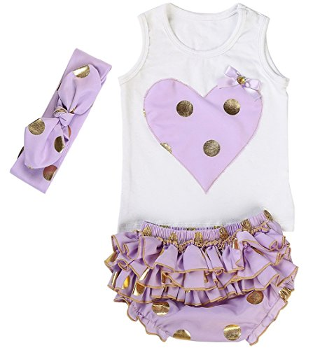 Messy Code Lovely Design Posh Gold Polka Dots Baby Girls Outfits,X-Small / (Polka Dots Bloomers)