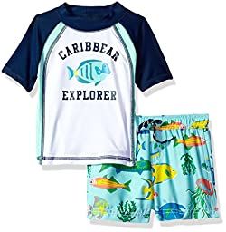 Carter\'s Baby Boys\' Infant Caribbean Explorer Rash Guard Set, Navy/White, 18MO