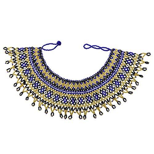 Idealway African Zulu Beaded Necklace Tribal Choker Colorful Acrylic Indian Ethnic Bib Collar (Colorful 7192B) -