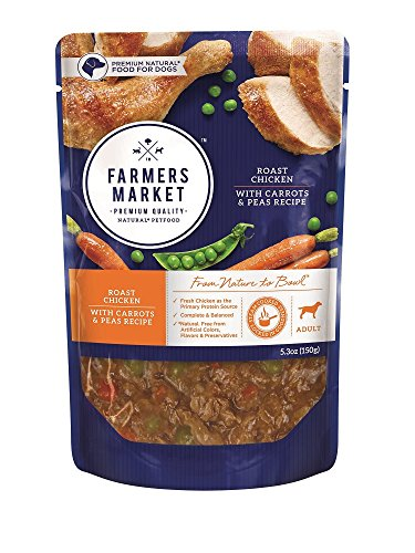 Farmers Market Pet Food Premium Natural Wet Dog Food Pouch, 5.3 oz, Roast Chicken with Carrots & Peas (Case of 24)