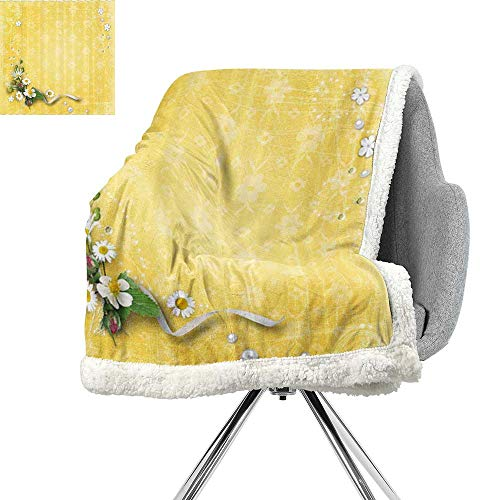 (Yellow Decor Blanket Small Quilt,Vintage Country Look Romantic Pattern with Bouquet and Erased Flowers,Yellow and White,Soft Blanket Microfiber W59xL78.7)