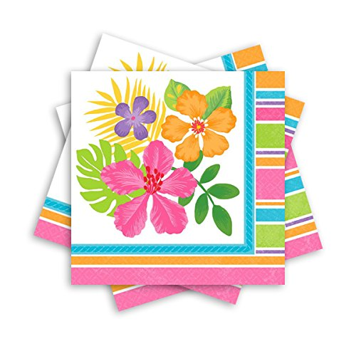 Sun-Sational Summer Luau Party Sophisticated Hibiscus Luncheon Napkins Tableware, Paper, 6.5'' x 6.5'', Pack of 36