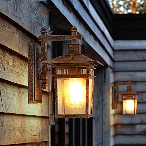 Wylolik European Retro Wall Lamp Porch Lighting Rectangular Aluminum Frame With Transparent Glass Lampshade Oil Rubbed Bronze Finish Wall Sconce Garden Courtyard Dusk Lighting Hardwired Task Wall Ligh