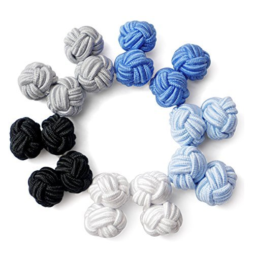 Honey Bear Silk Knot Cufflinks - 5 Pairs Mens Monochrome Set with Gift Case (round 8 without box)