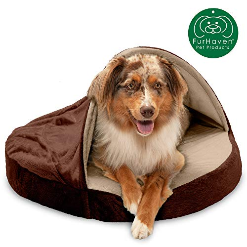 Furhaven Pet Dog Bed | Orthopedic Round Cuddle Nest Micro Velvet Snuggery Blanket Burrow Pet Bed w/ Removable Cover for Dogs & Cats, Espresso, 26-Inch