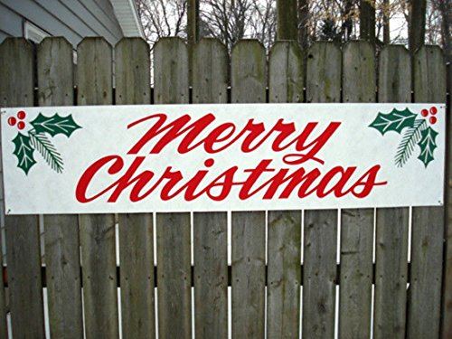 "1 Pc Greatest Popular Merry Christmas Sign Outdoor Waterproof Wall Declare Home Decal Size 17"" x 72"" Banner Signs"
