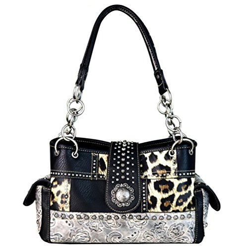 - Montana West Concealed Carry Leopard Cheetah Animal Print Shoulder Bag Purse (Black)