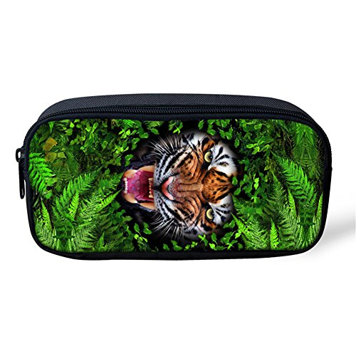 (Showcool School Students Pencil Case Holder Cool 3D Tigers Grass Green Plants Pattern Supplies Pen Bag Pouch Polyester cute for School Teens boys girls girl)