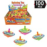 [Value Bundle] 100 Pcs LED Light Up Flashing Mini Spinning Tops Novelty Bulk Toys Party Favors