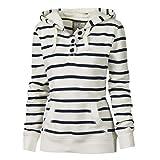 CU@EY Women's Striped White Hoodies , Casual Hooded Long Sleeve , xl