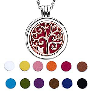 925 Sterling Silver Rose Gold Plated Life Tree Essential Oil Diffuser Locket Necklace