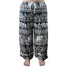 Oriental Yoga Harem Elephant Pants black and white