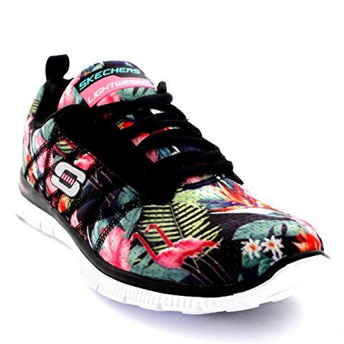 Womens Skechers Flex Appeal Floral Bloom Sports Jogging Active Sneakers - Black/Multi - 9