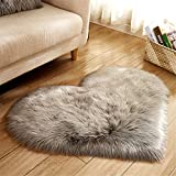 Dikoaina Classic Soft Faux Sheepskin Chair Cover Couch Stool Seat Shaggy Area Rugs for Bedroom Sofa Floor Fur Rug,GRET, Heart
