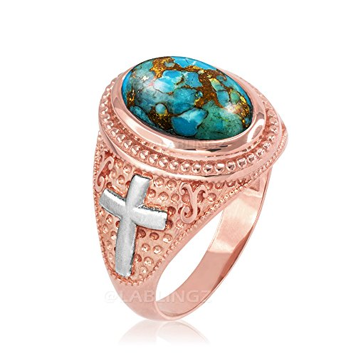 14K Two-Tone Rose Gold Blue Copper Turquoise Christian Cross Ring (6)
