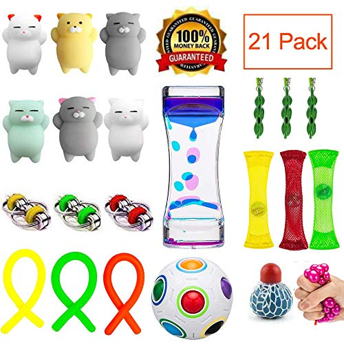 Fidget Toys 21 Pack Bundle Sensory Toys Set-Liquid Motion Timer/Mesh and Marble Toys/Rainbow Magic Ball/Bike Chain/Stretchy String/Stress Balls/Mochi Squishies Cats for ADHD Autism Anxiety Reliever ()