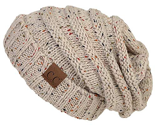 Senker 2 Pack Slouchy Knit Beanie Cap Soft Cozy Oversized Hats for Women and Men