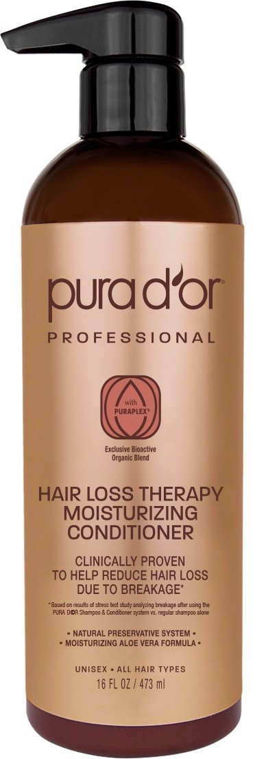 PURA D'OR Professional Grade Moisturizing Conditioner Clinically Tested Hair Thinning Therapy Super Concentrated for Maximum Results, Sulfate Free Natural & Organic Ingredients, Men & Women, 473 ml PURA D'OR