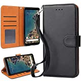 OKILA Google Pixel 2 XL Case Wallet Leather Flip Cover with Kickstand and Card Slot for Google Pixel 2 XL (2017) Slim Phone Case (Black)