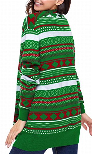 Christmas Fashion Open Printed Women amp;W Pockets amp;S Green Sweater Cardigan M xqwtaPYO