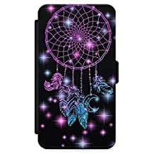 iPhone 5 Case, iPhone 5s, iPhone SE Midnight Dream Catcher Phone Case by Casechimp® | Premium Leather Flip Wallet Card Holder Slots | Lotus Dream Catcher Dormeo Teepee Love