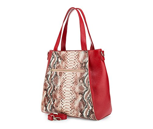 WITTCHEN Elegante Tasche | 33x33cm, Narbenleder | Passend für A4 Größe: Ja | Rot, Kollektion: Elegance | 85-4E-355-3