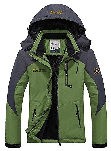 Men's Fleece Outerwear Jackets Outdoor Waterproof Coat Athletic Shell Hooded Grass Green US XS/Tag L (Windstopper Hooded Shell Jacket)