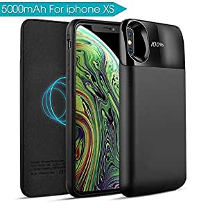 Mbuynow Funda Bateria iPhone X/XS, 5000mAh Inalámbrico Cargador 2 en 1 Batería Cargador Batería Externa Recargable Portatil con LCD Pantalla para ...