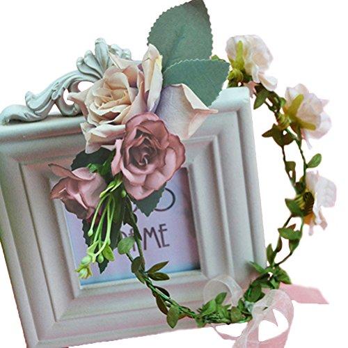 land Crown Boho Flower Headband Hair Wreath Floral Headpiece Halo with Ribbon Wedding Party Festival Photos Brown ()