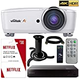 Vivitek HK2288 4K DLP Projector with High Dynamic Range (White) with 3 Free of Months Netflix, Sony Blu Ray Player, and Ceiling Bracket Bundle
