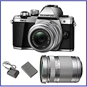 51VjghPp1eL. SS300  - Olympus M10 Mark 2 (14-42mm IIR & 40-150mm Lenses, Silver)