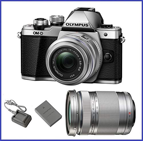 Olympus OM-D E-M10 Mark II Mirrorless Micro Four Thirds Digital Camera with 14-42mm II R Lens [Silver] & Olympus M.Zuiko Digital ED 40-150mm f/4.0-5.6 R Lens - Micro Olympus 3rds 4 Camera
