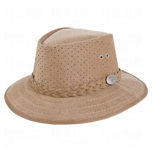 Aussie Chiller Killer Perforated Fedora Hats Tan X-Large