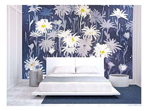 Background Abstract Painting with Chamomile Flowers in White and Blue