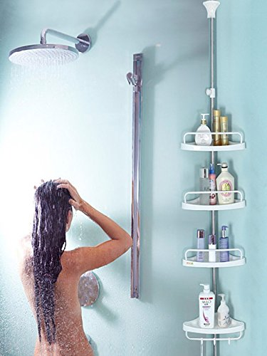 H&A Strong Shower Storage Caddy,SturdyTension Corner Pole Caddy,Commercial Grade Rustproof Bathroom Bathtub Adjustable Corner Rack Ivory